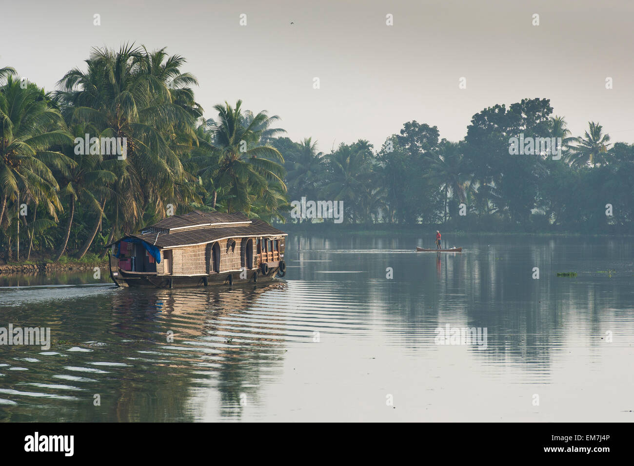 House boat, fishing, palm tree fringed, backwaters, Kerala, Malabar Coast, South India, India - Stock Image