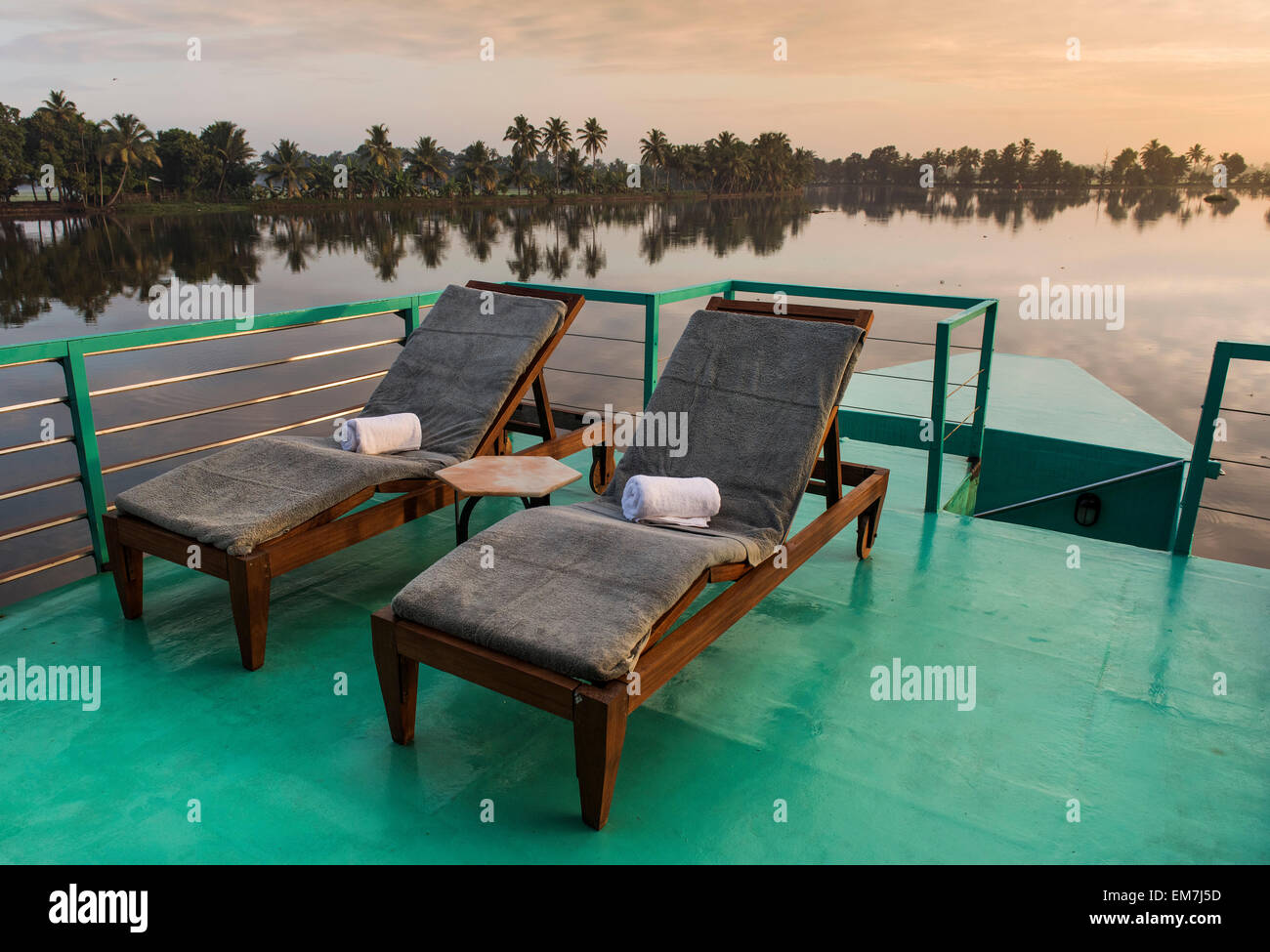 Deck Chairs On A Deck, Luxurious Houseboat, Discovery Of The Boutique Hotel  Chain Malabar Escapes, Morning Light, Backwaters