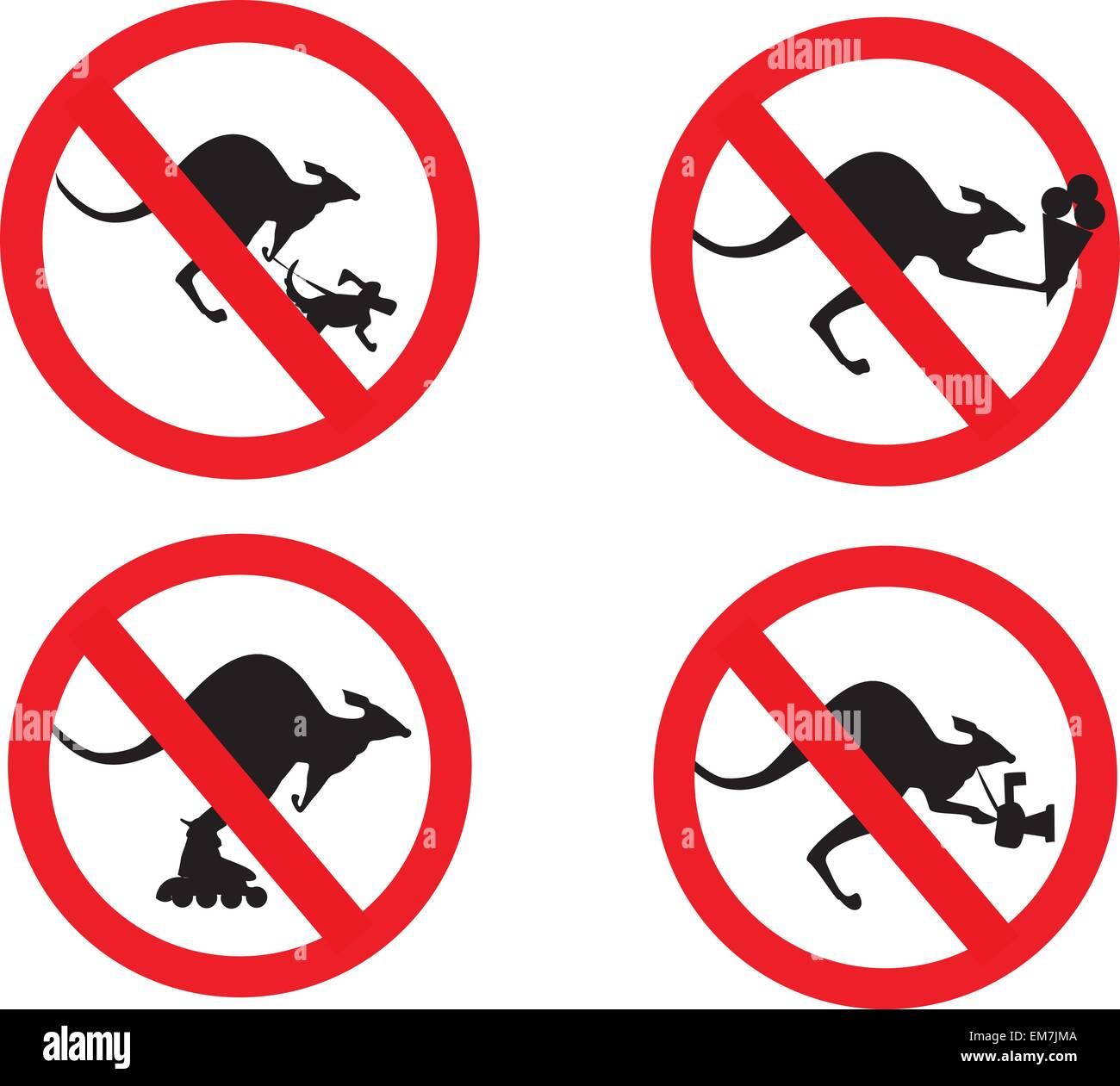 kangaroos no entry sign set - Stock Image