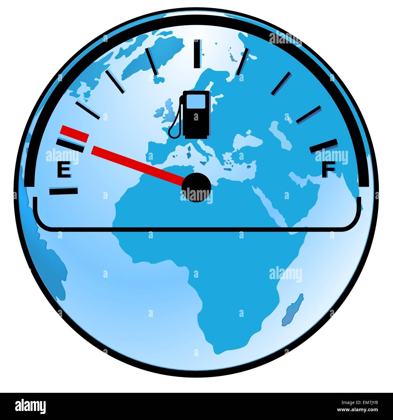 gas gauge world - Stock Image