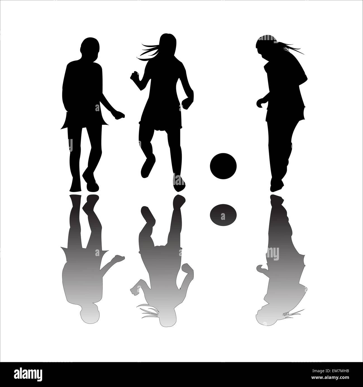 girls playing football - Stock Image