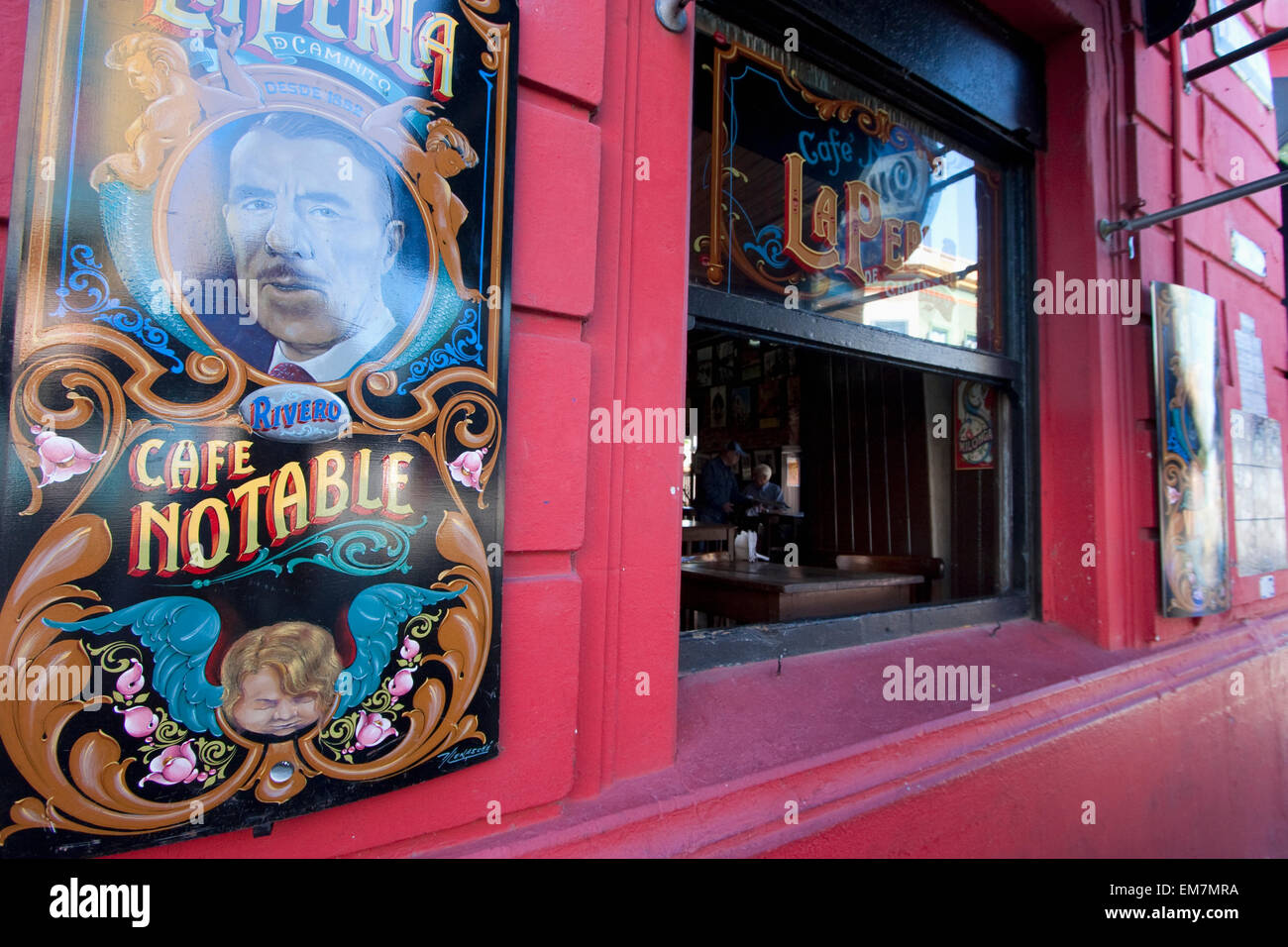 Cafe Notable, The pearl of Caminito in Barrio La Boca, Buenos Aires, Capital Federal, Argentina - Stock Image