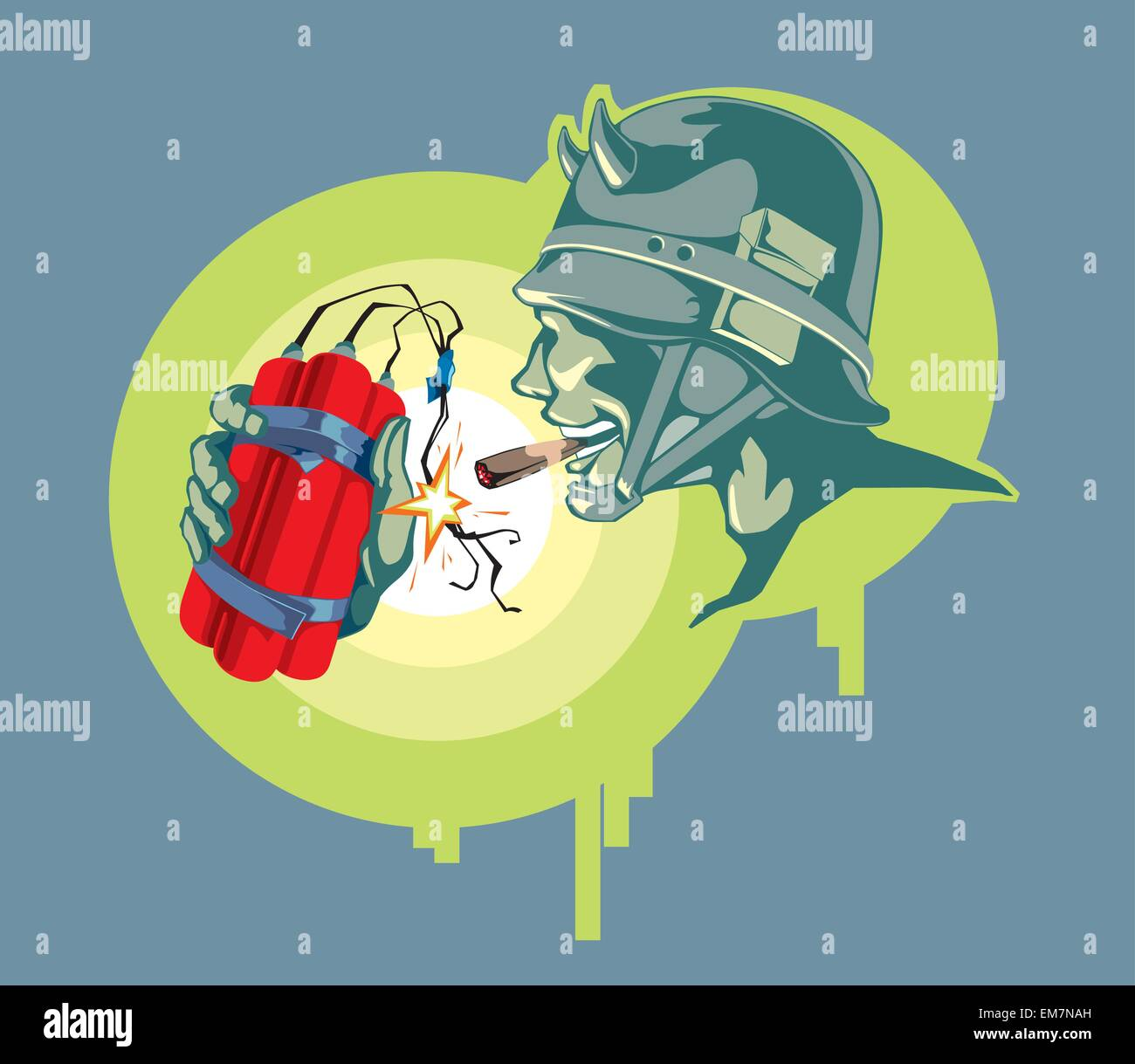 Soldier with an Explosive - Stock Vector