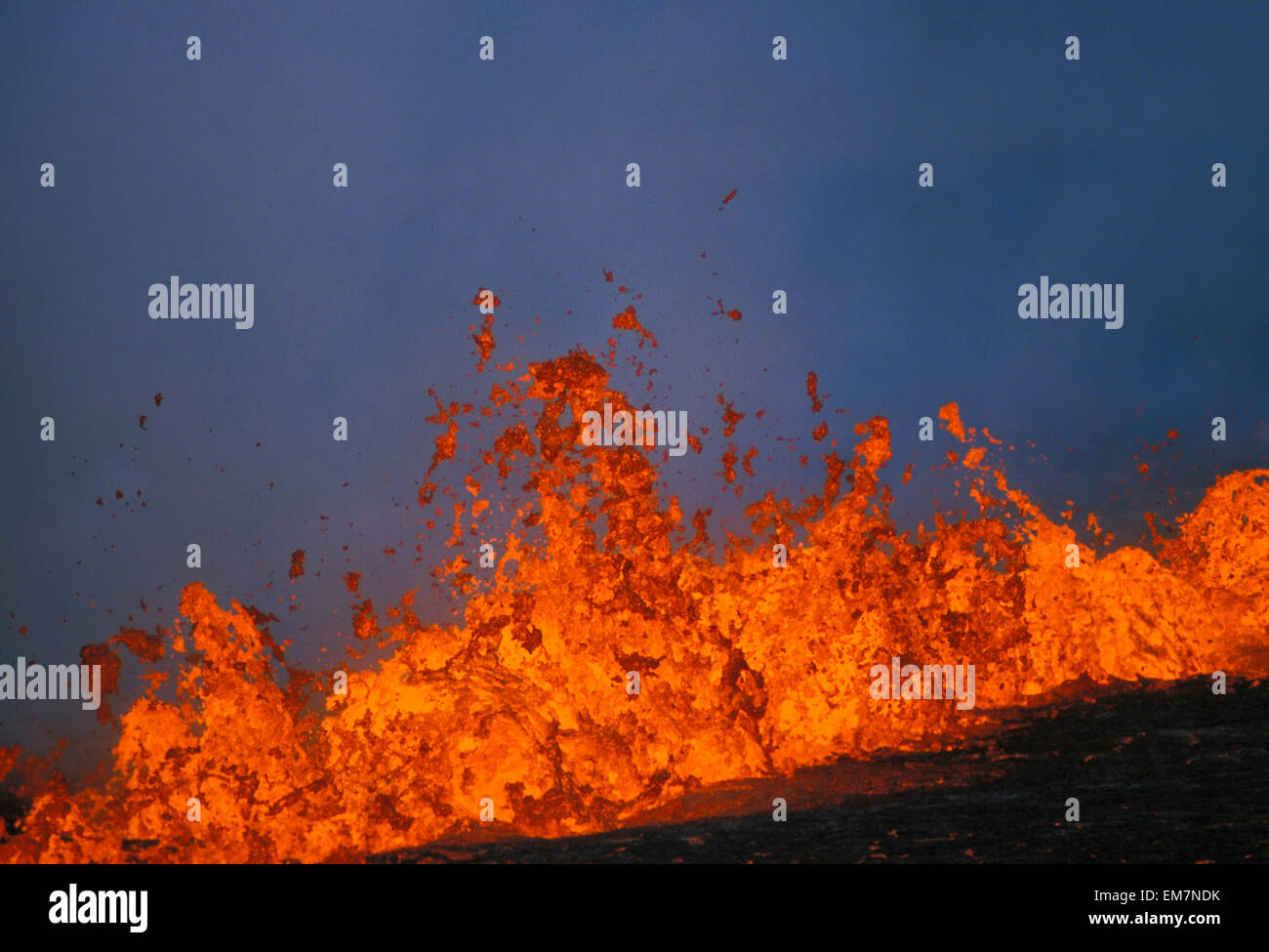 Hawaii, Big Island, Kilauea Volcano, Pu'u O'o Rift Eruption Fountaining - Stock Image