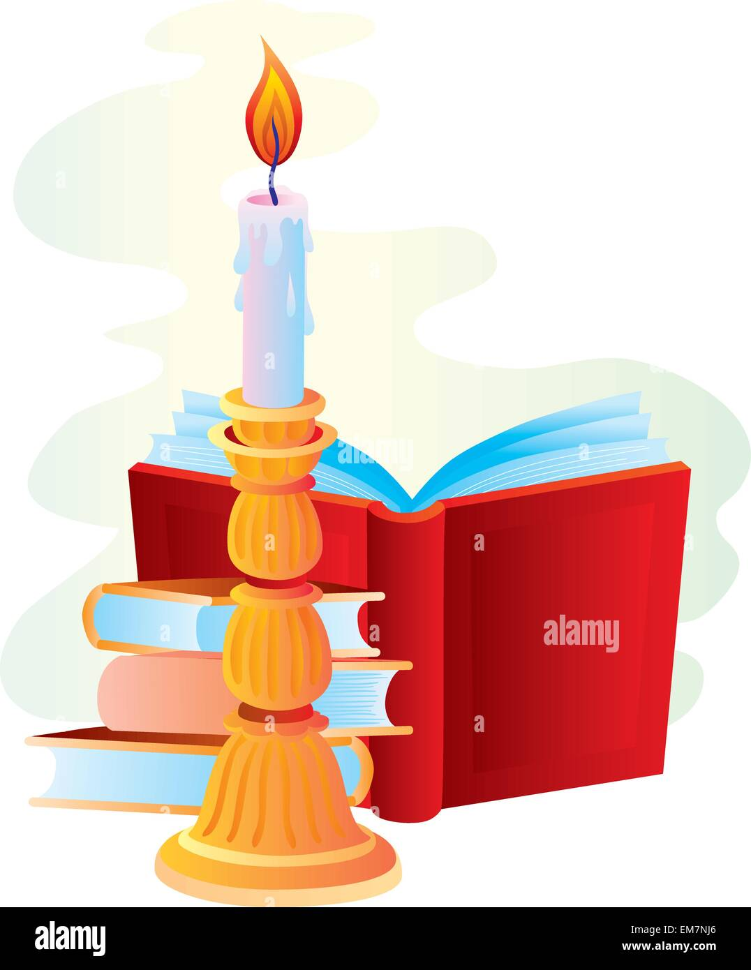 Candle with books - Stock Vector