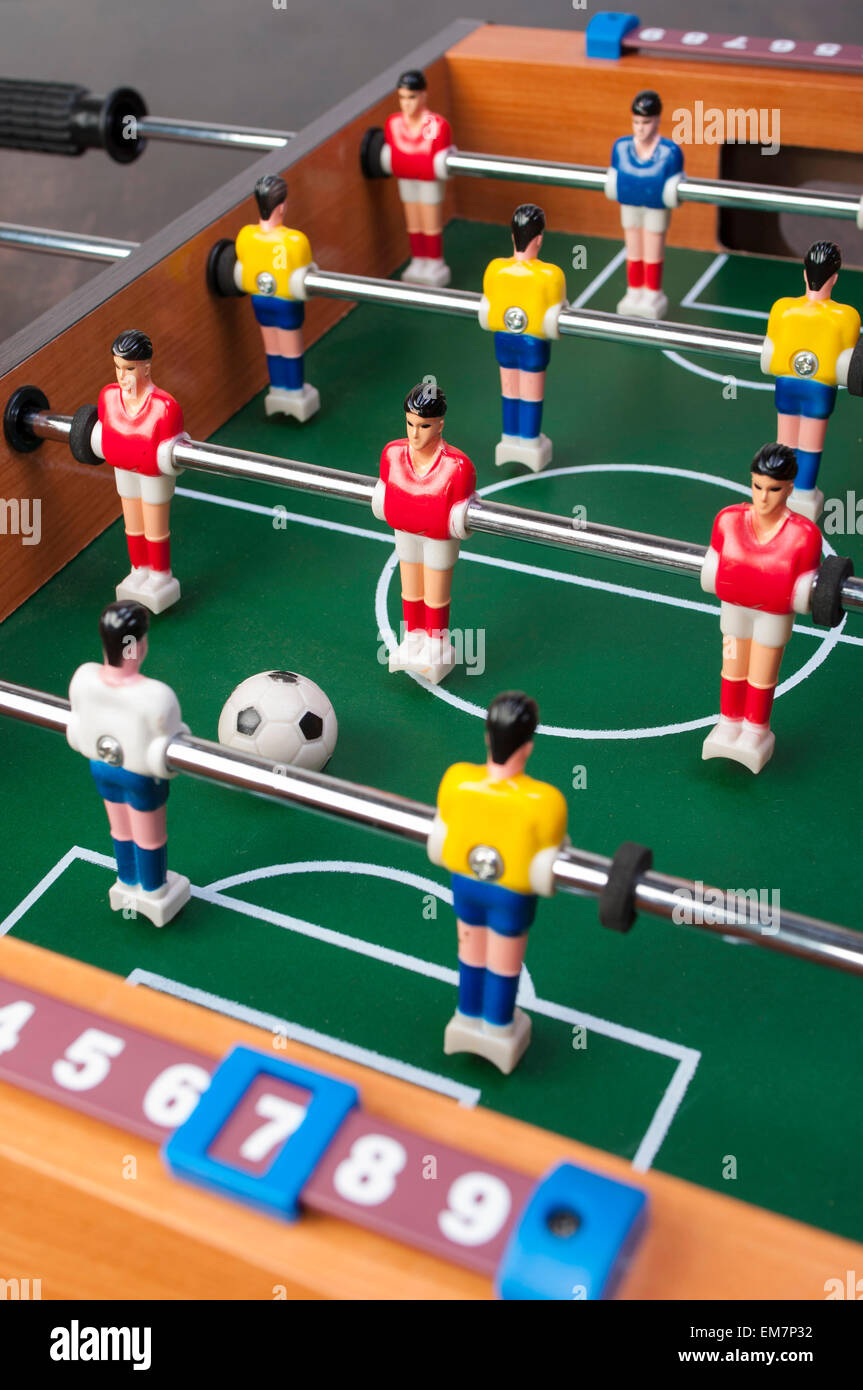 playing toy football players for everyone even in household conditions Stock Photo