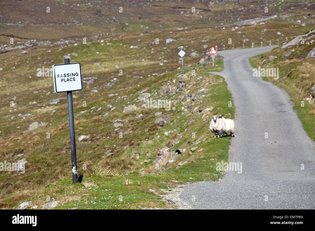 Single track road on the isle of Harris, Scotland - Stock Image