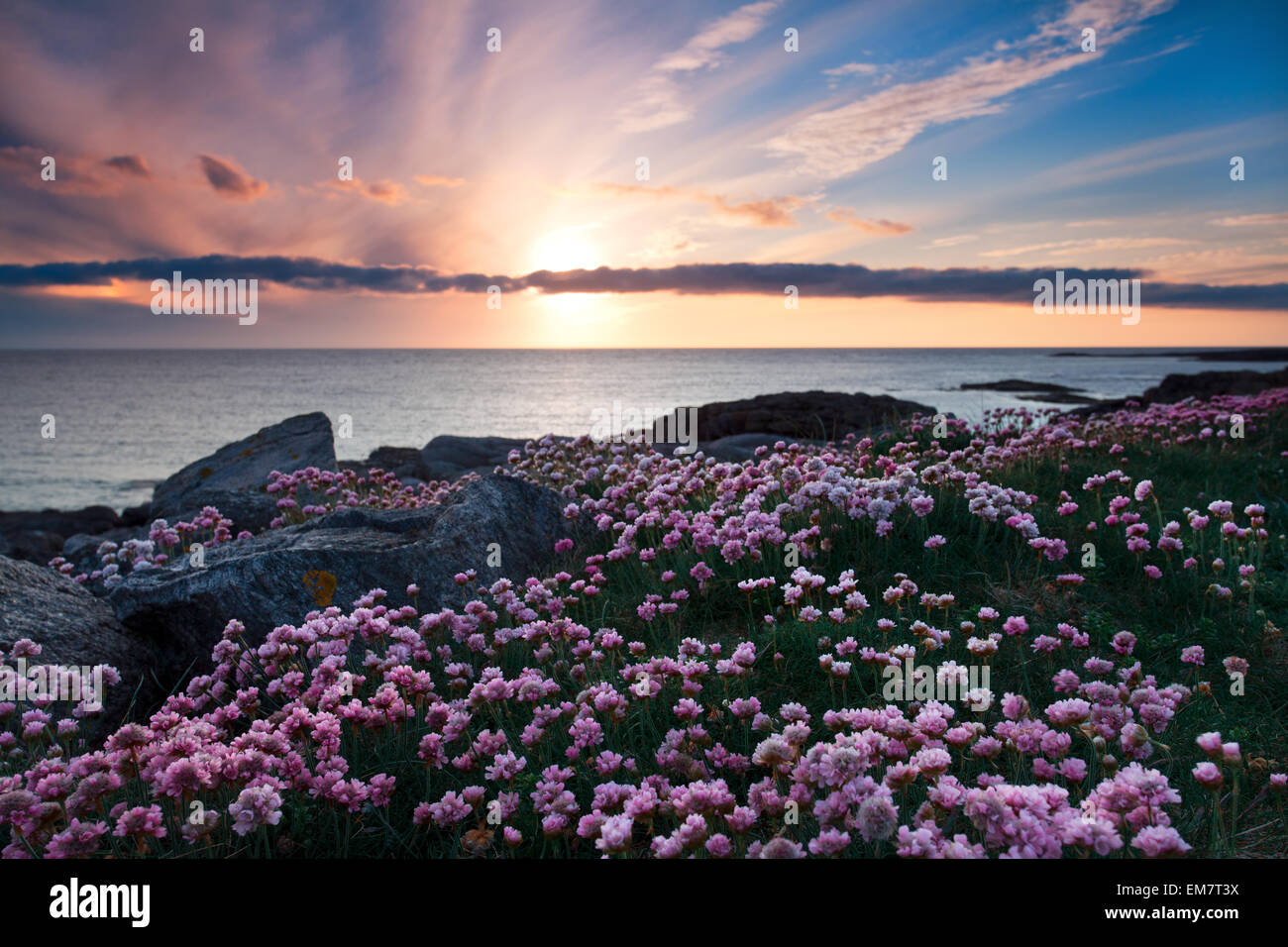 Isle of Barra at sunset, Outer Hebrides, Scotland - Stock Image
