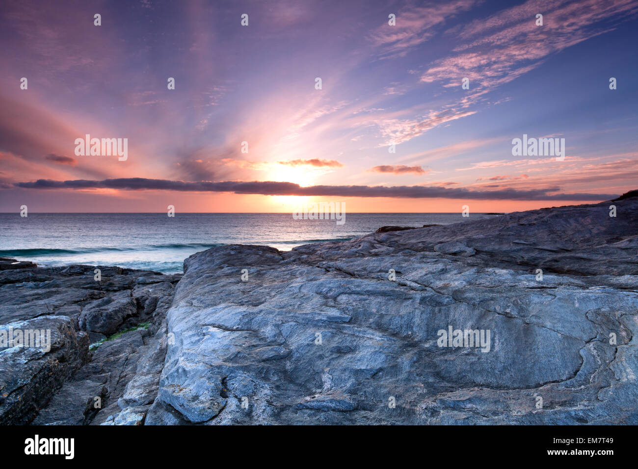 Rugged coast at Isle of Barra, Outer Hebrides of Scotland - Stock Image