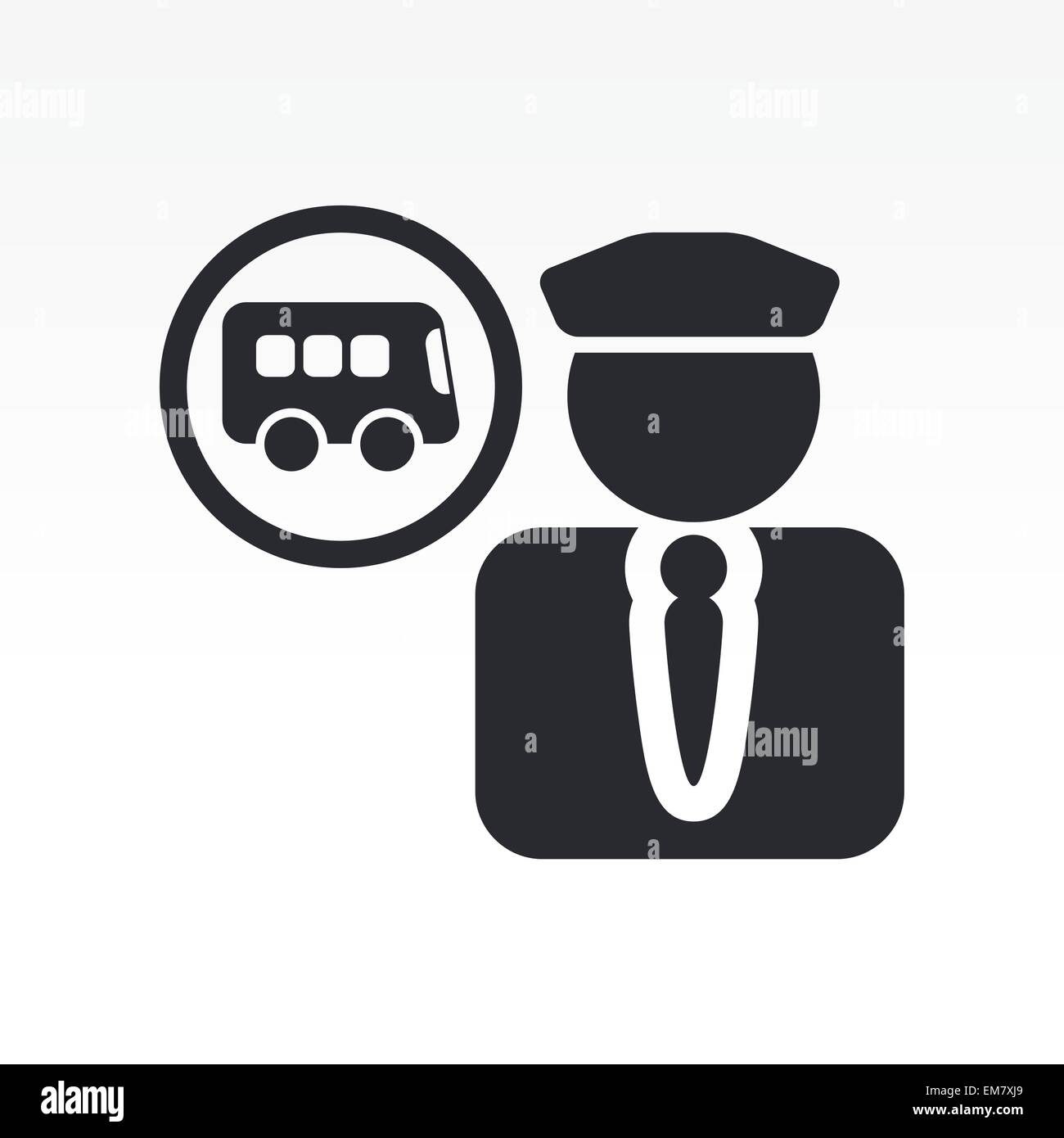 Vector Illustration Of Single Bus Driver Icon Stock Vector