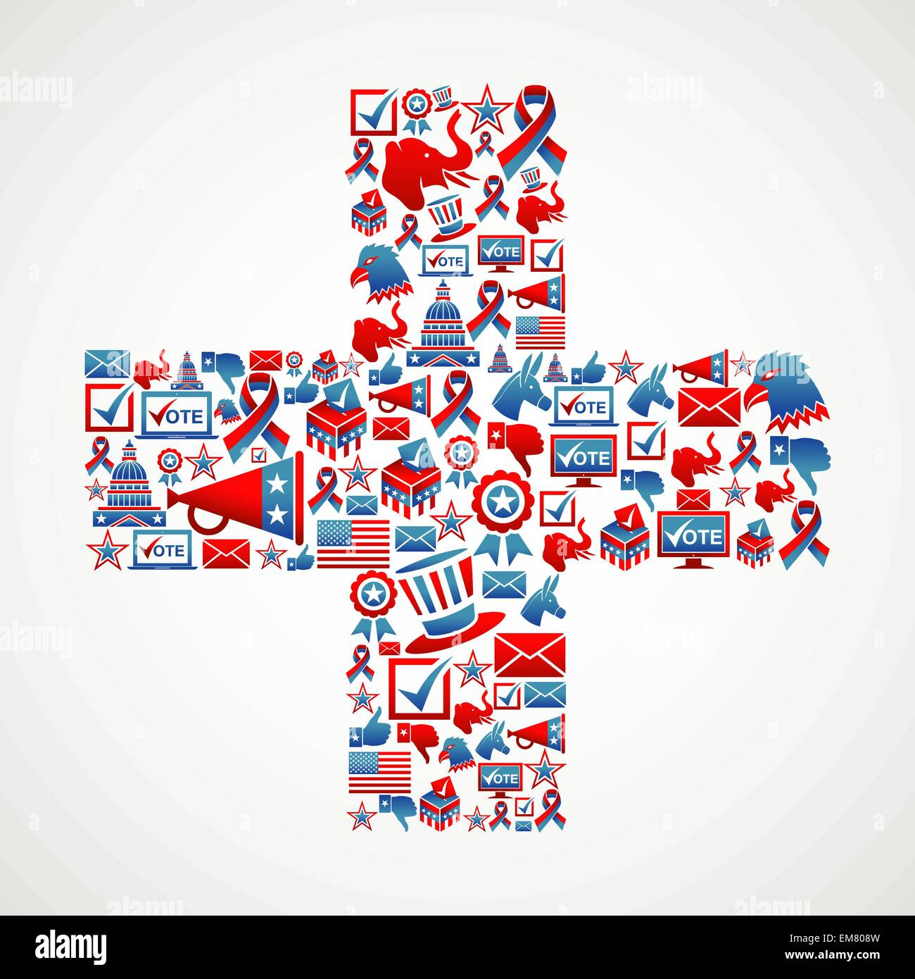 Marketing US elections icon in cross - Stock Image