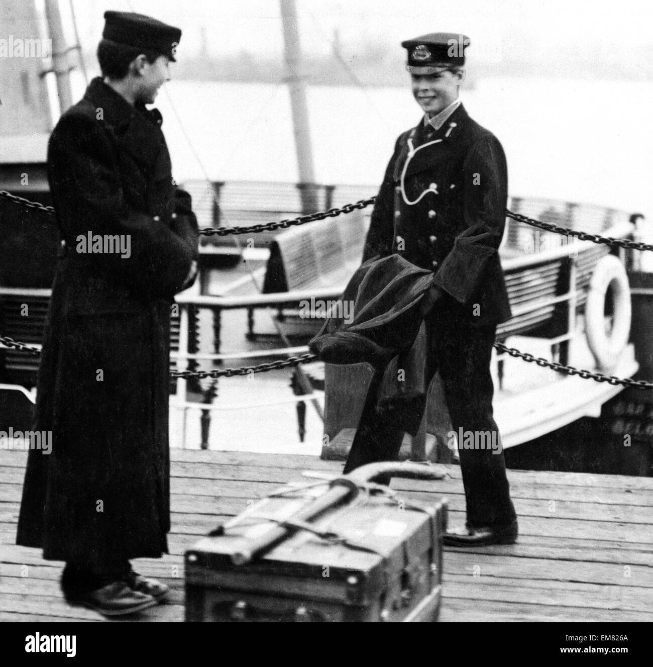 Prince of Wales dressed as a Naval Cadet on H.M.S Hindustan. October 1911 - Stock Image