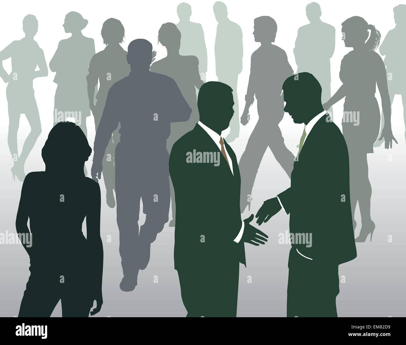 Meeting at a busy square - Stock Vector