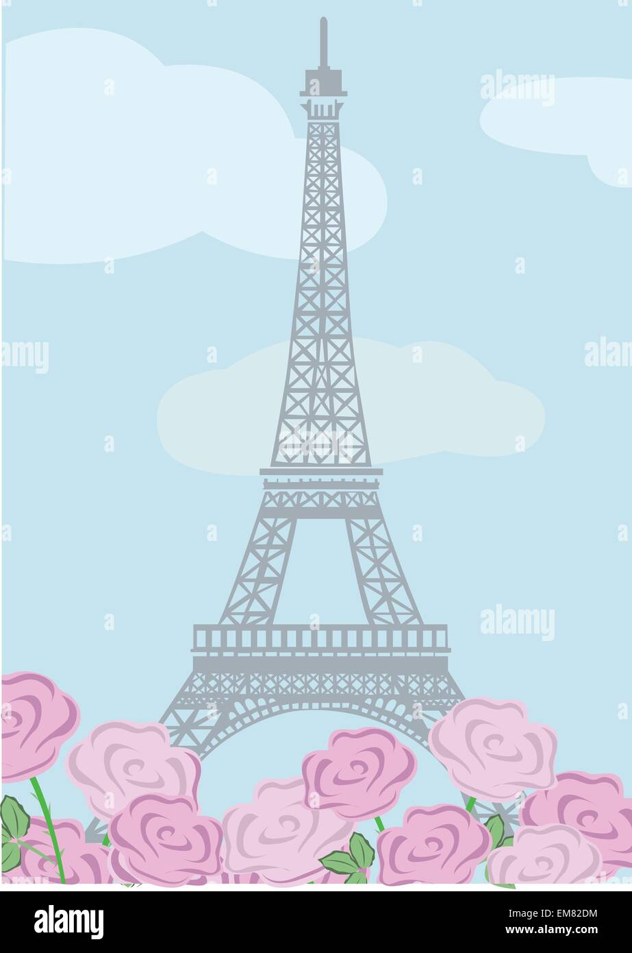 Eiffel tower with roses - Stock Vector