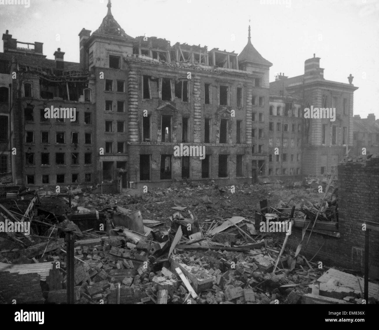WW2 Air Raid Damage 1943 Bombed fire station at Tooting in London. - Stock Image