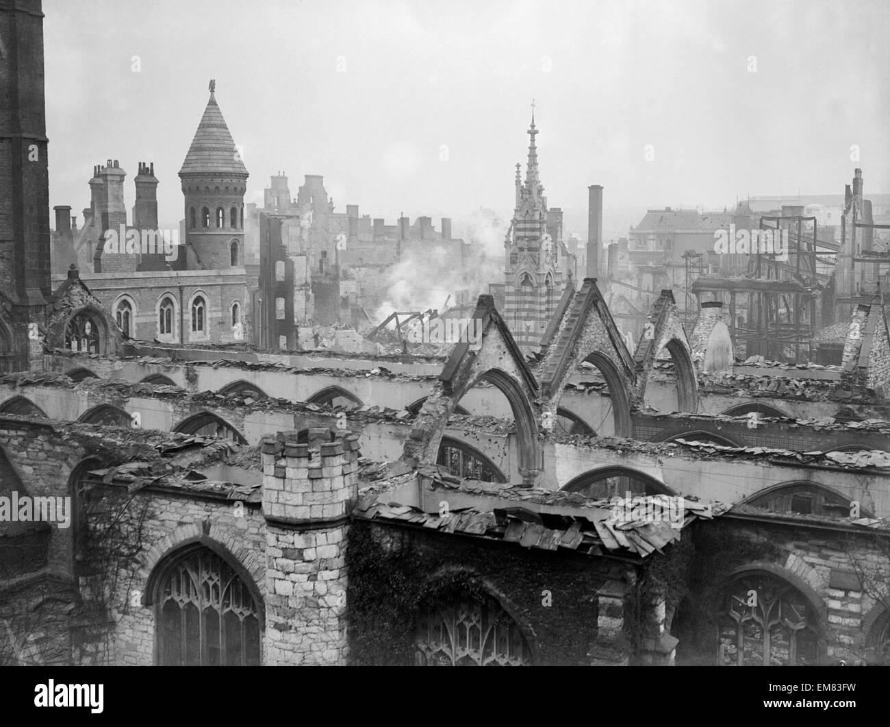 WW2 Air Raid Damage Bomb damage at Plymouth after an air raid by the German Luftwaffe. Circa 1941. - Stock Image