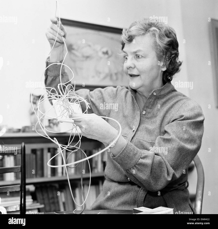 Author Jessica Mitford, basket weaving 30th November 1974. - Stock Image