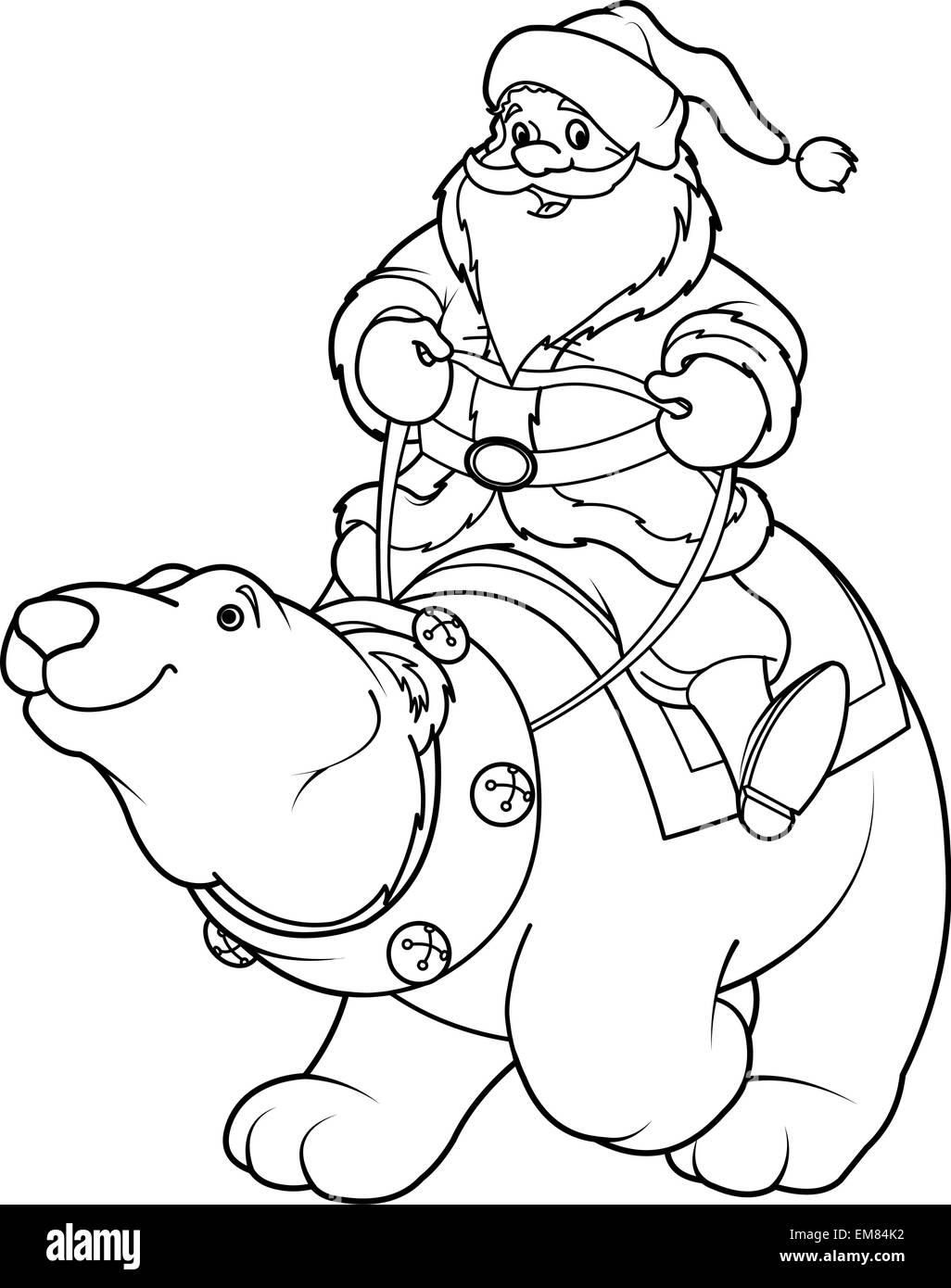 - Santa Claus Riding On Polar Bear Coloring Page Stock Vector Image