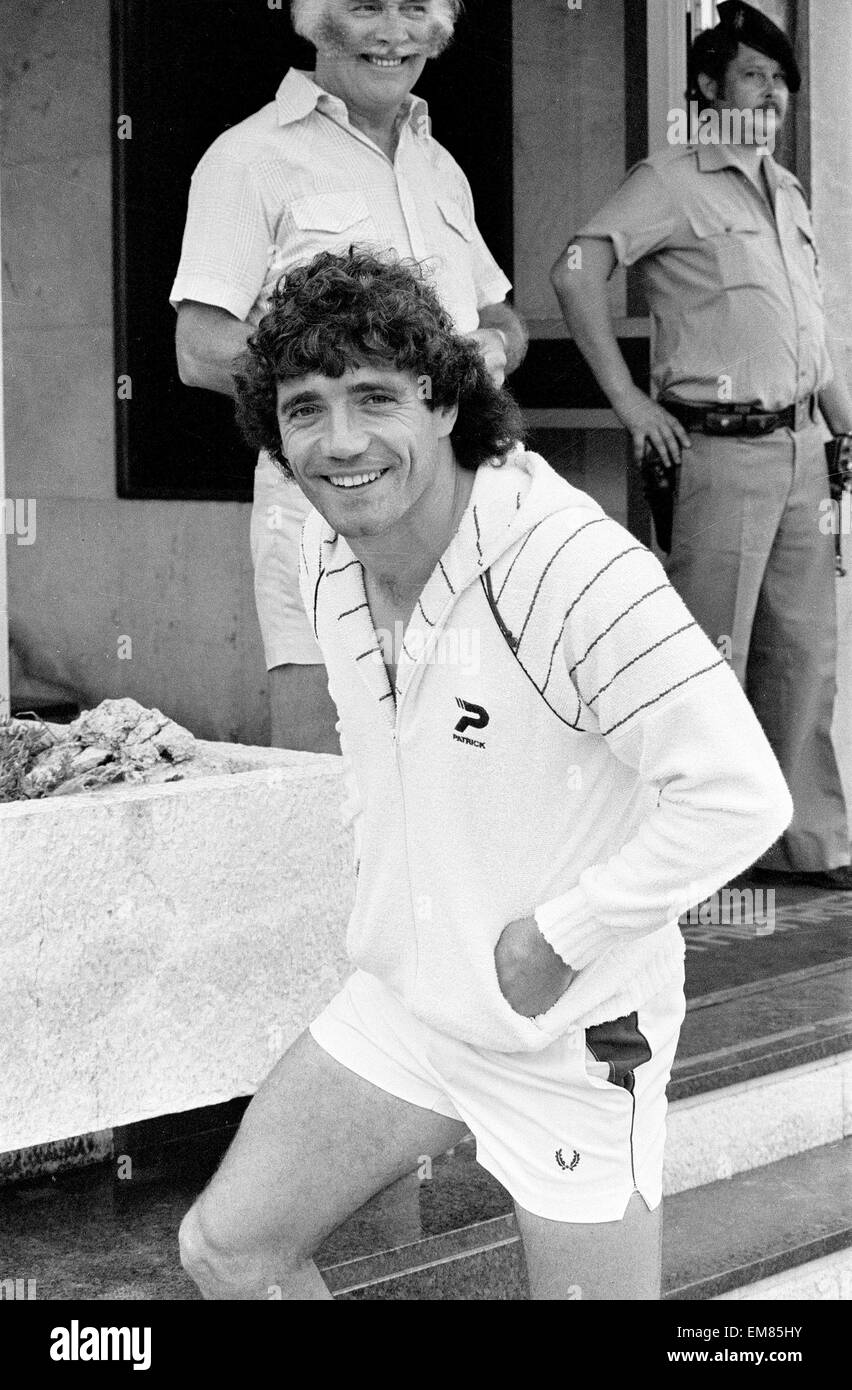 England footballer Kevin Keegan in relaxed mood at the team hotel during the 1982 World Cup Finals in Spain. 18th - Stock Image