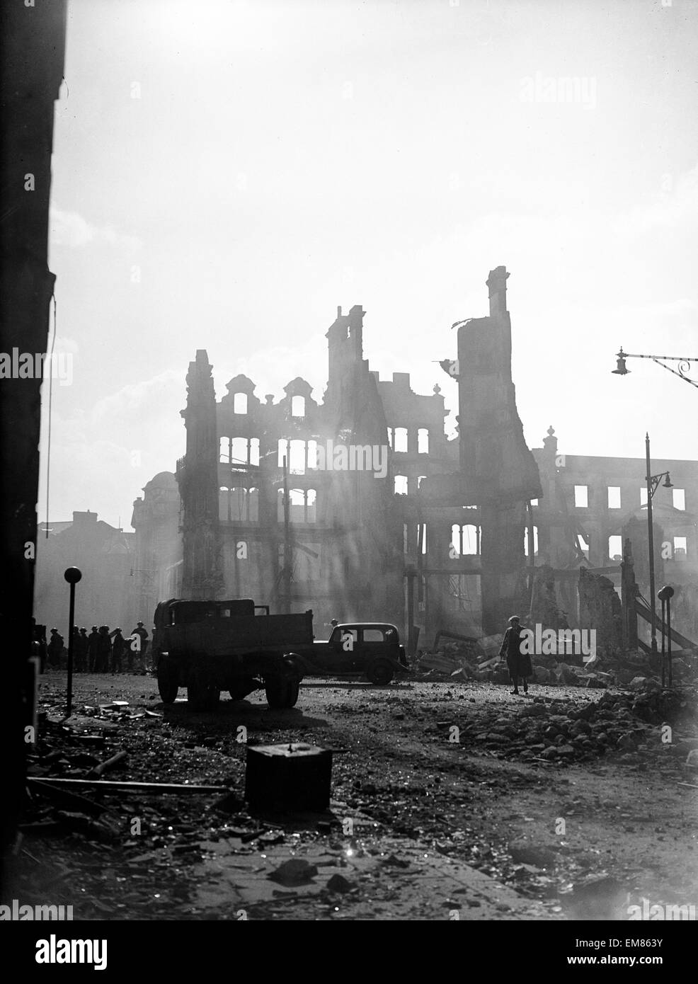 Swansea as dawn breaks after three night blitz attack by the German luftwaffe in World War Two. February 1941. Stock Photo