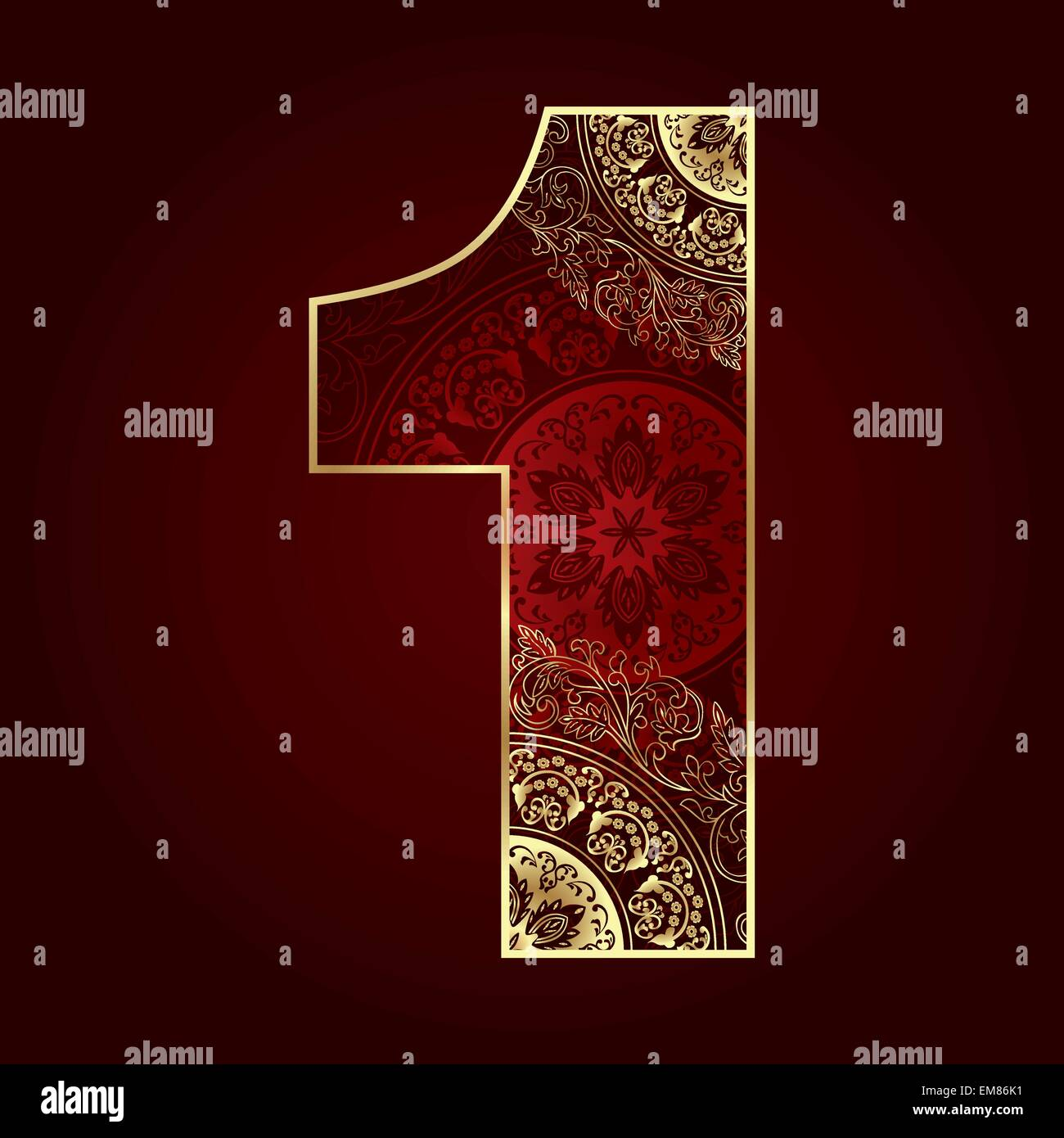 Vintage number 1 with floral swirls - Stock Image