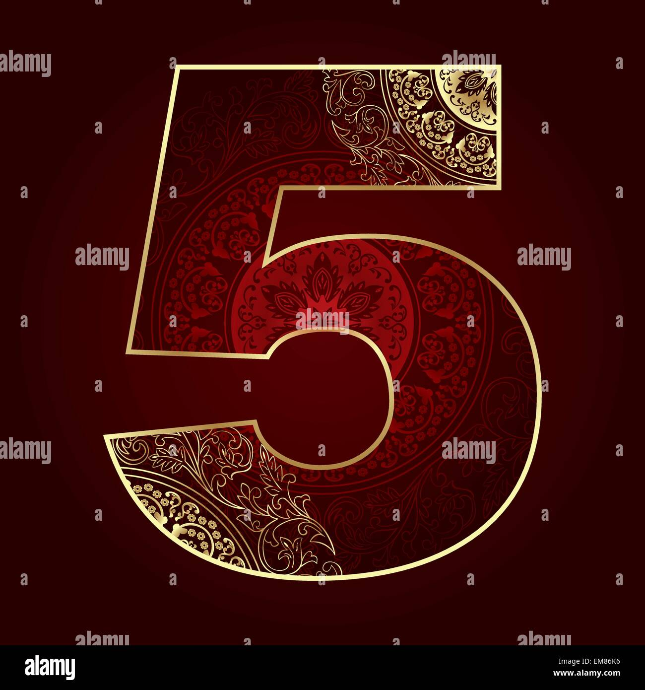 Vintage number 5 with floral swirls - Stock Image