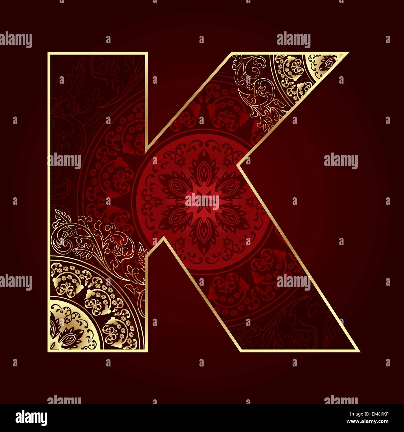 Vintage alphabet with floral swirls, letter K - Stock Image