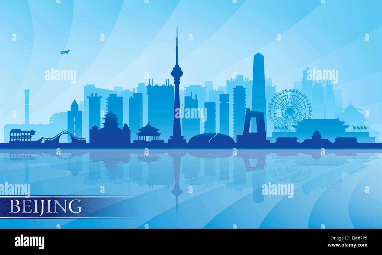 Beijing city skyline detailed silhouette - Stock Image