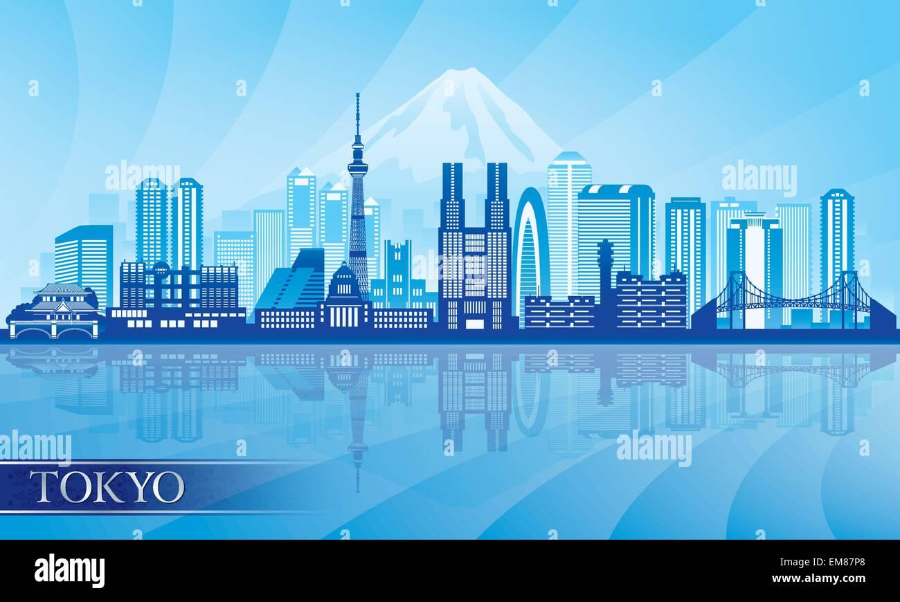 Tokyo city skyline detailed silhouette - Stock Image