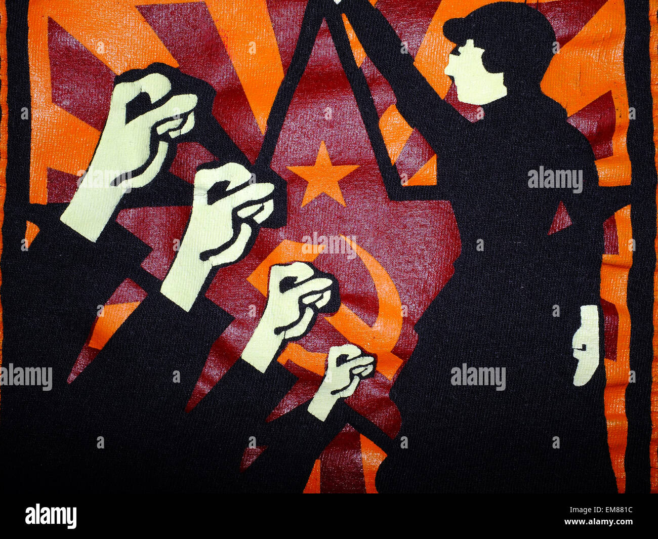 A Soviet style graphic Marxist Feminist image printed on a top. - Stock Image