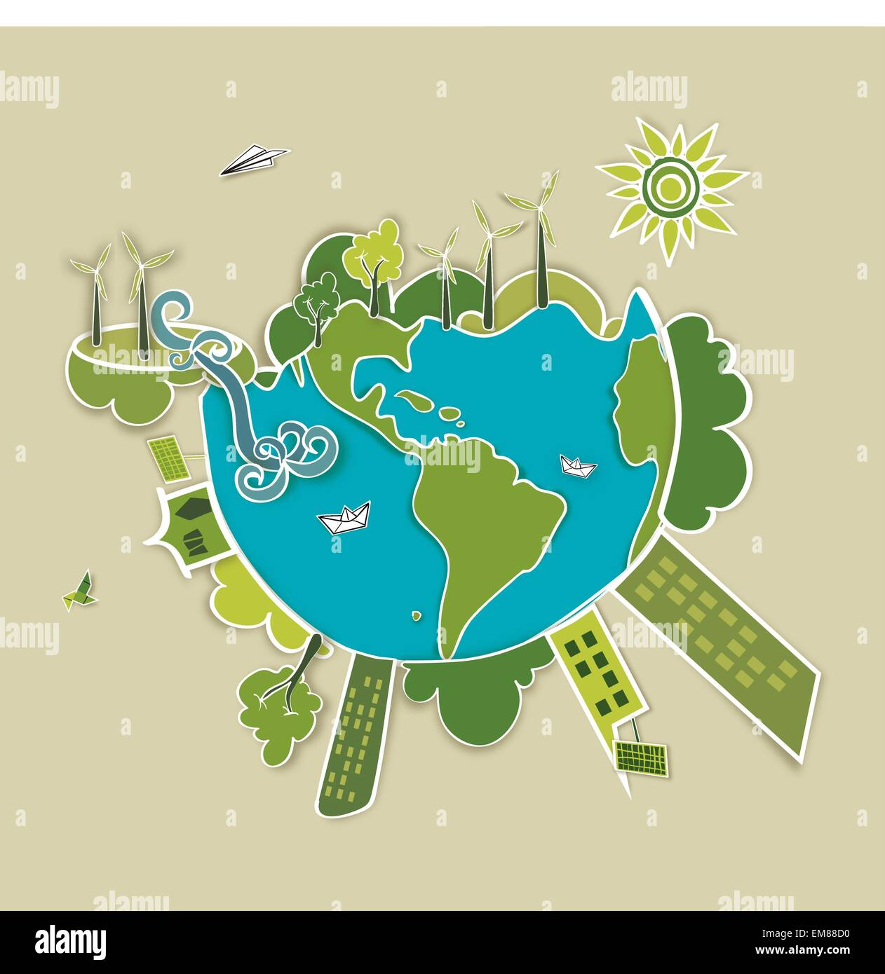 Green world background Stock Vector