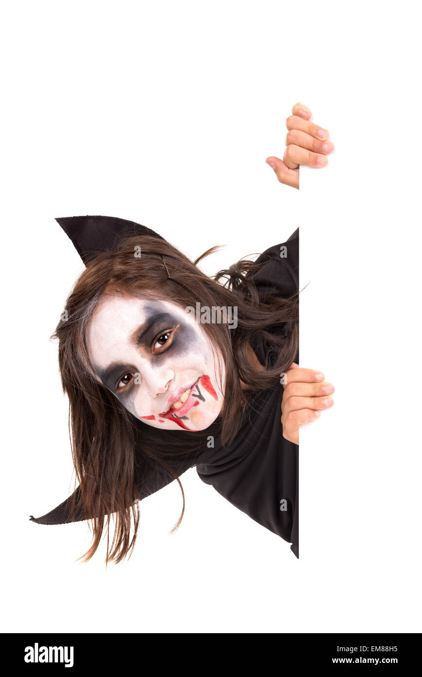 Girl with face-paint and Halloween vampire costume over a white ...