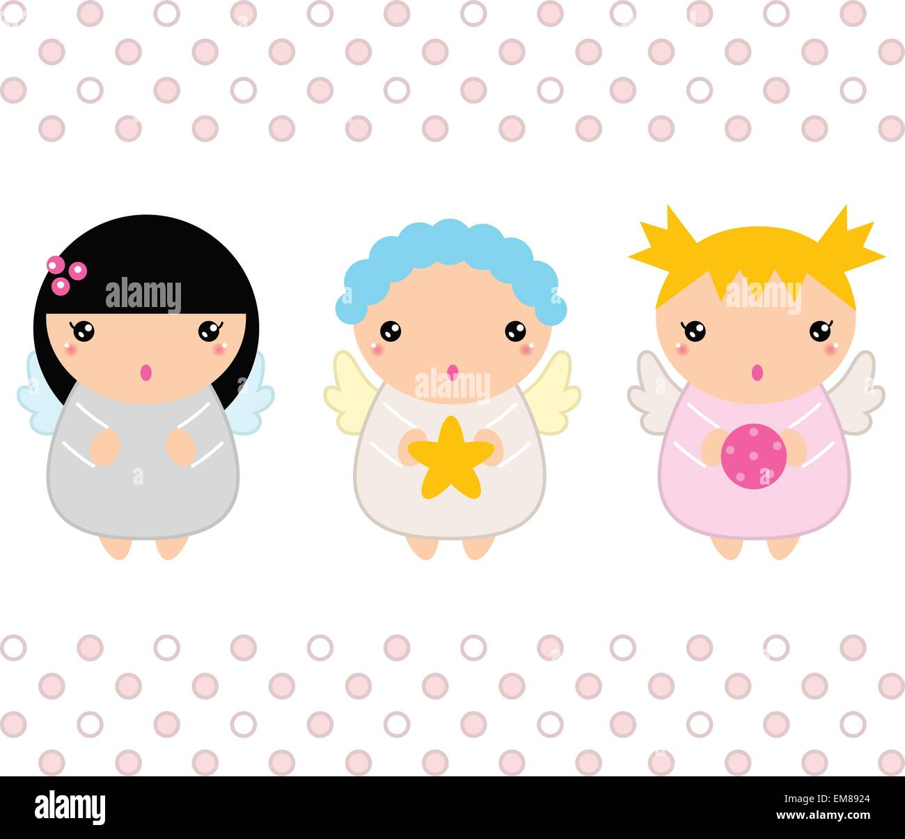 Kawaii Christmas Angels set isolated on white Stock Vector Art ...