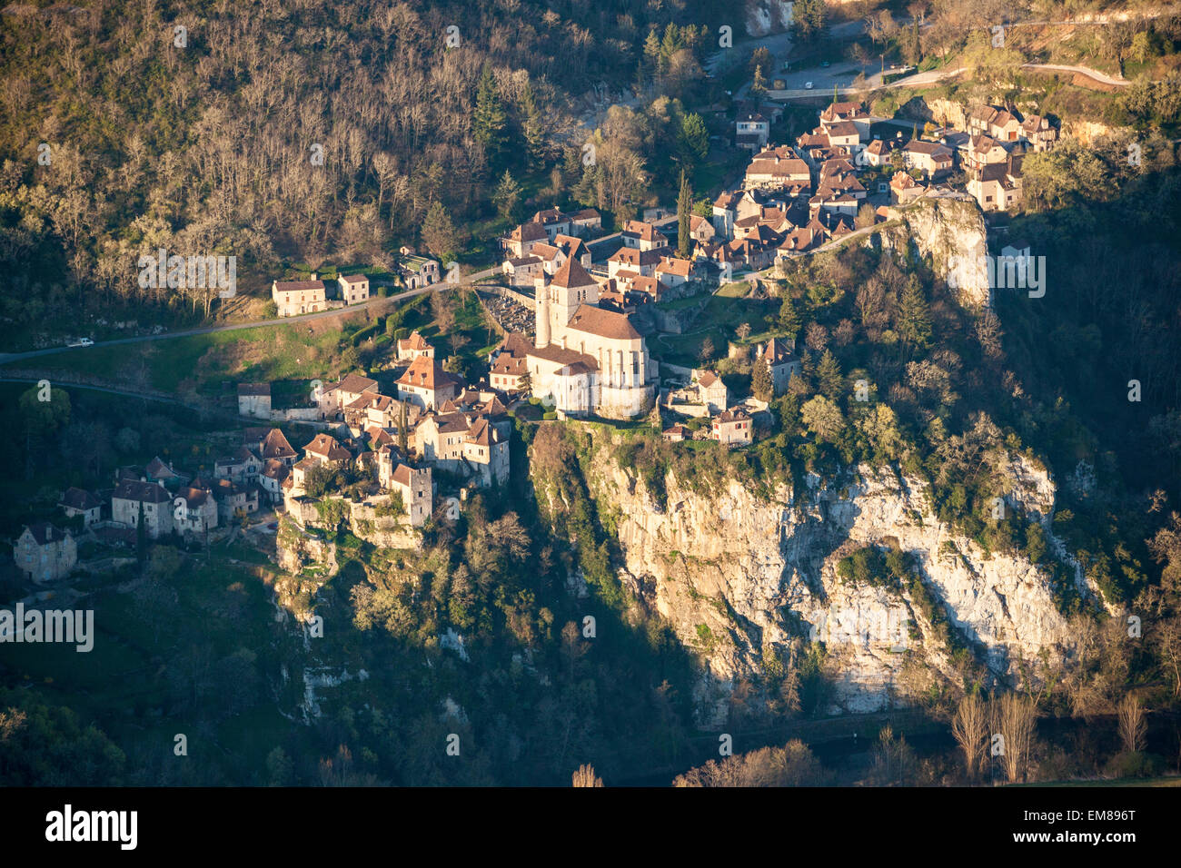 Aerial view of St. Cirq Lapopie in the Lot Valley in France - Stock Image