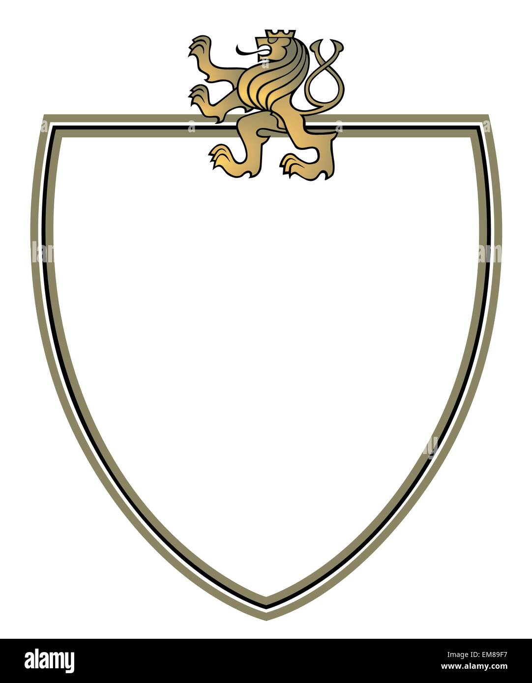 crest with golden lion - Stock Image