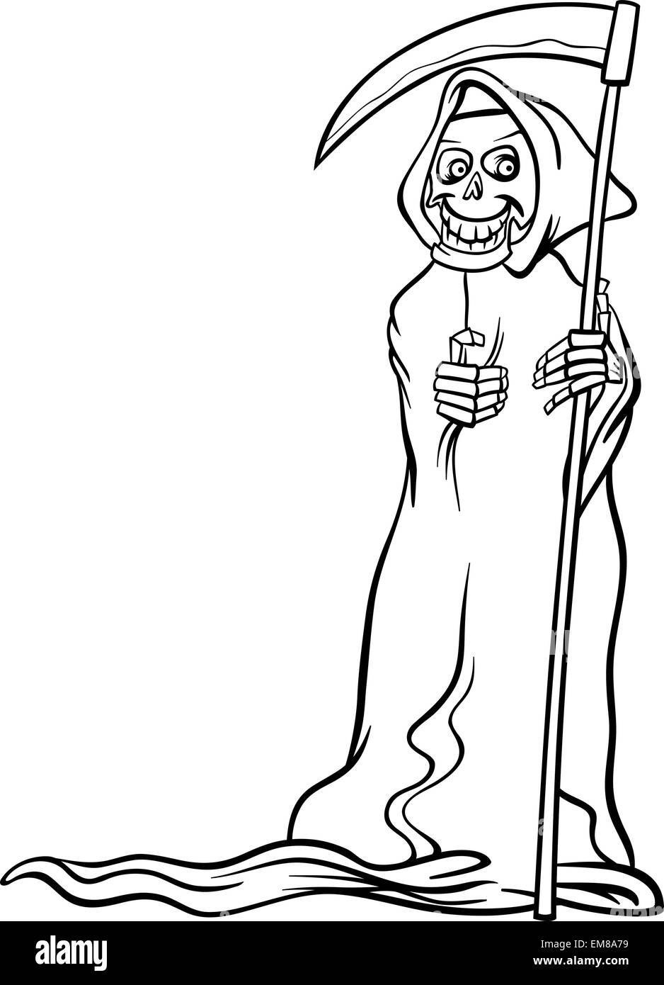death skeleton cartoon for coloring book Stock Vector Art ...