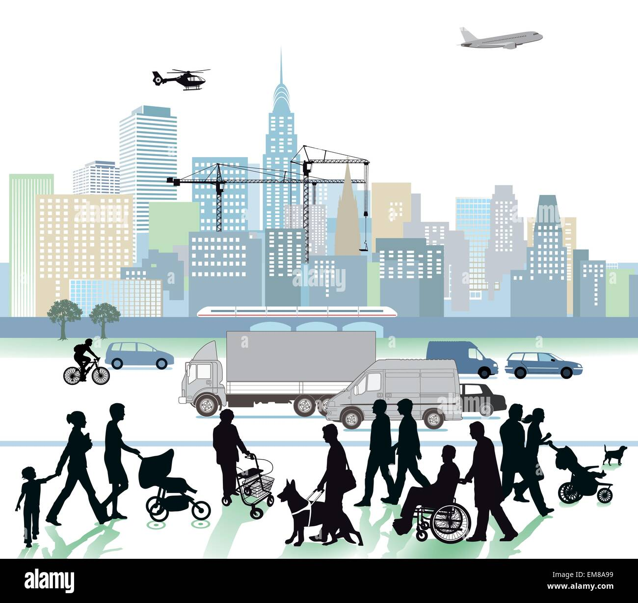 City and Traffic - Stock Vector