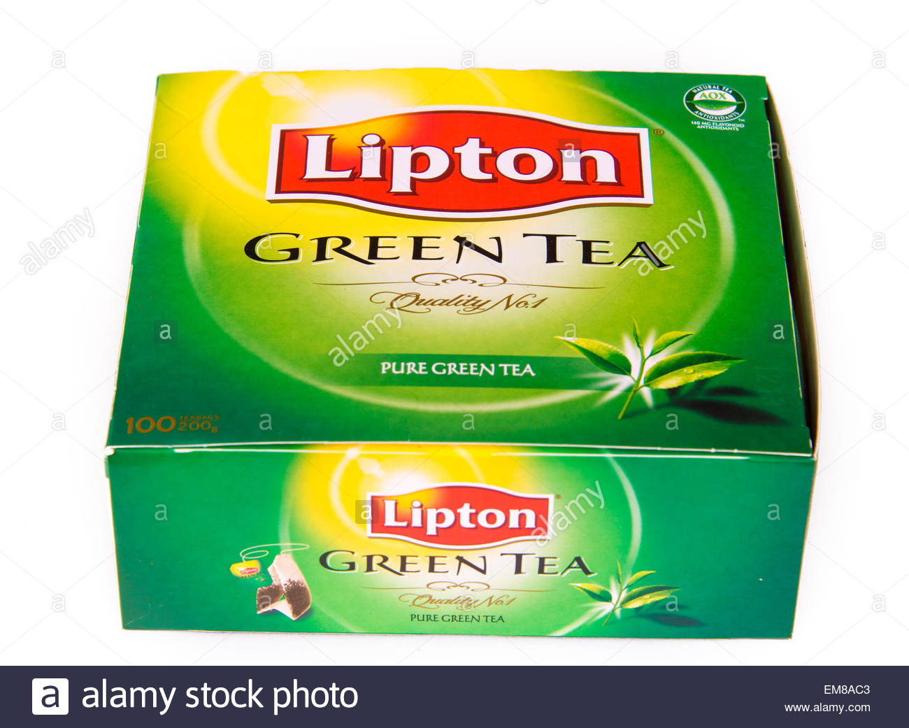 Most popular drinks: Lipton green tea is made from the leaves from Camellia sinensis that have undergone minimal - Stock Image