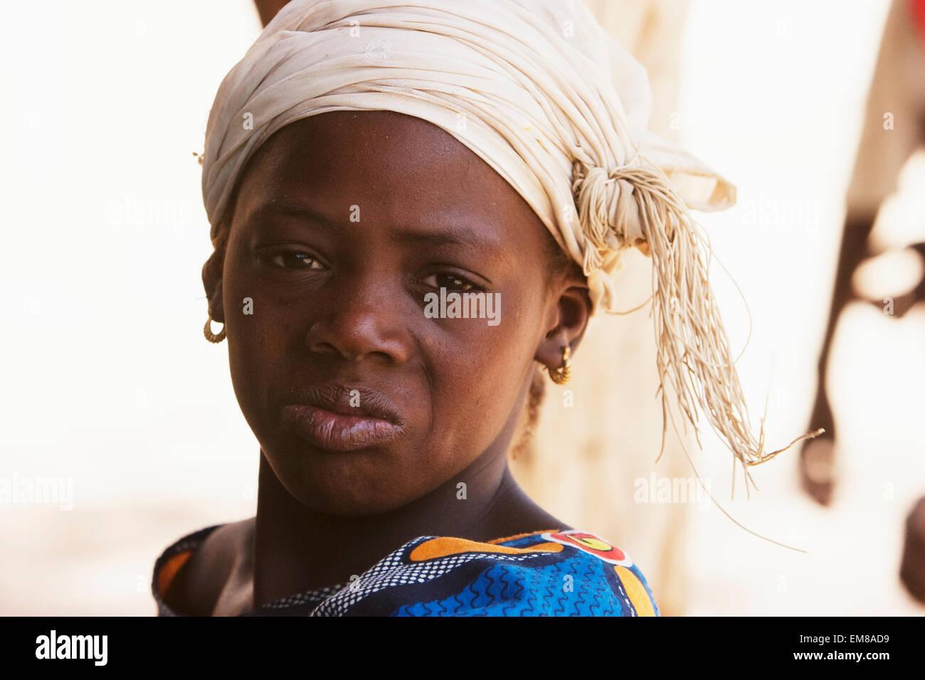Portrait of a girl, Niafunke, Mali - Stock Image