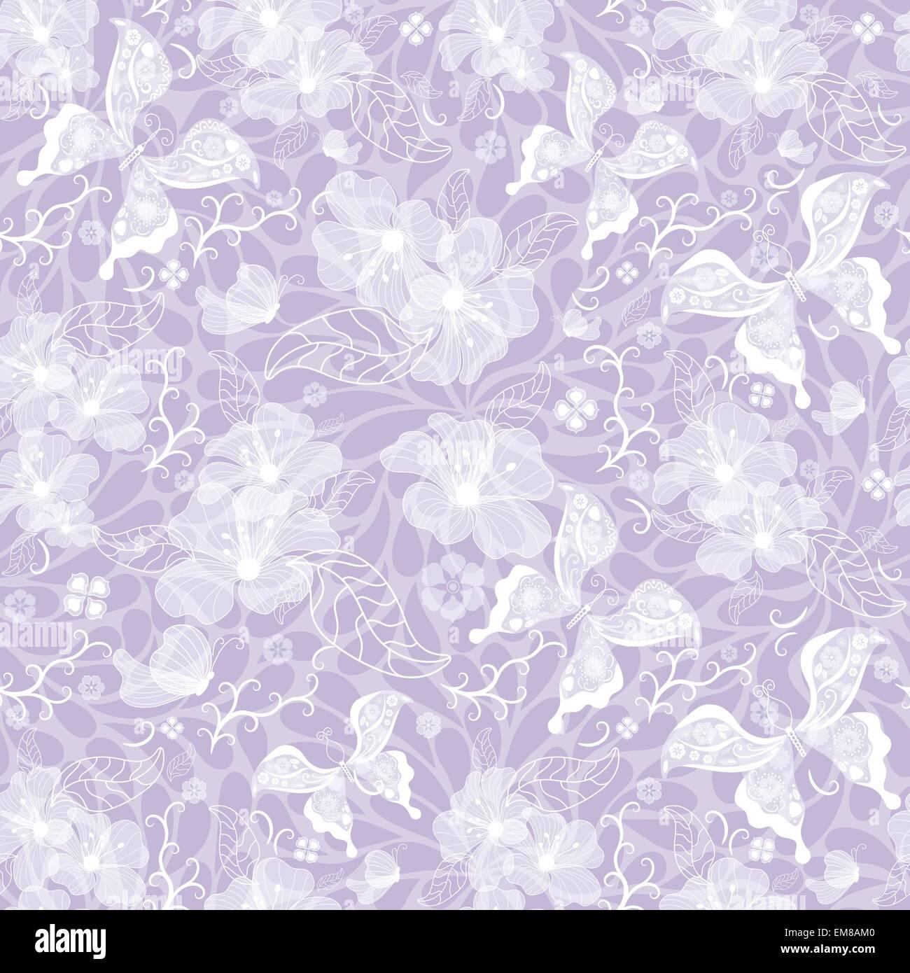 Gentle seamless violet vintage pattern - Stock Image
