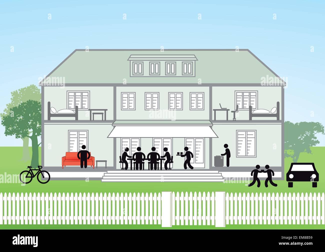 Family house cross-section Stock Vector