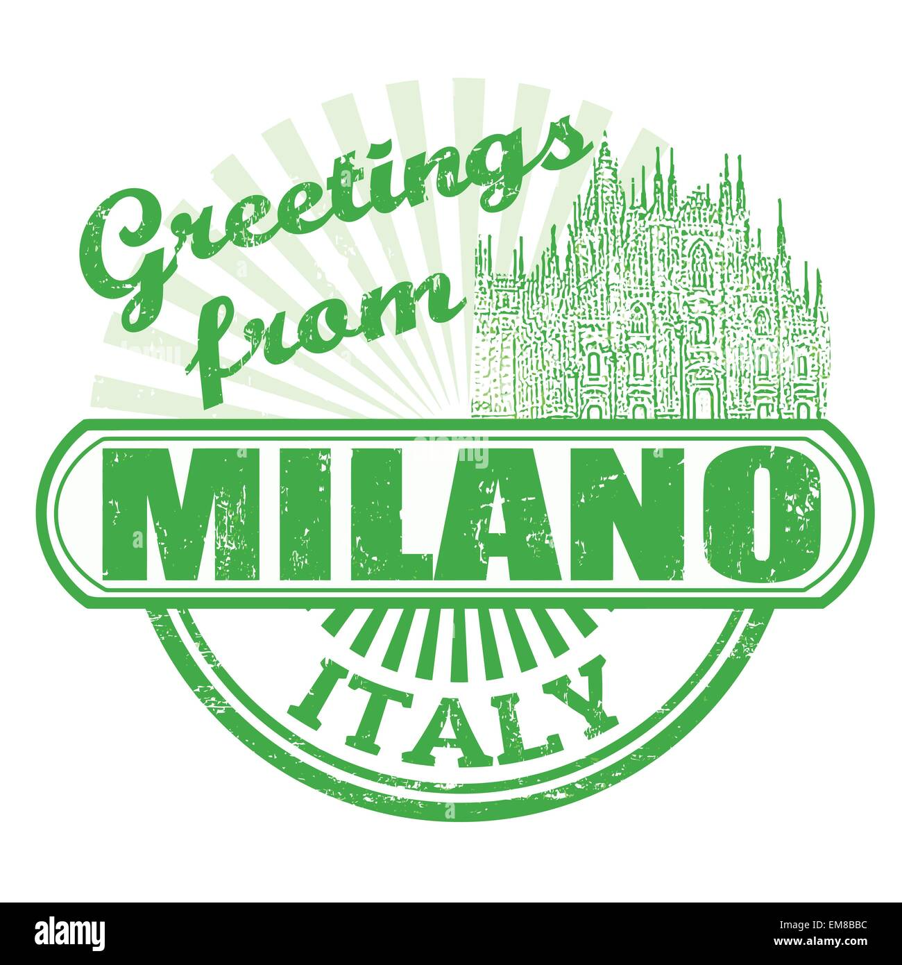 Greetings from Milano stamp - Stock Vector