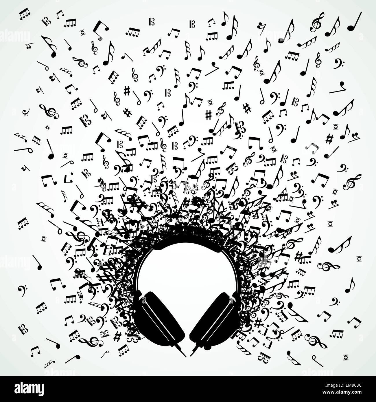 Music Notes From Headphones Isolated Design Stock Vector Art