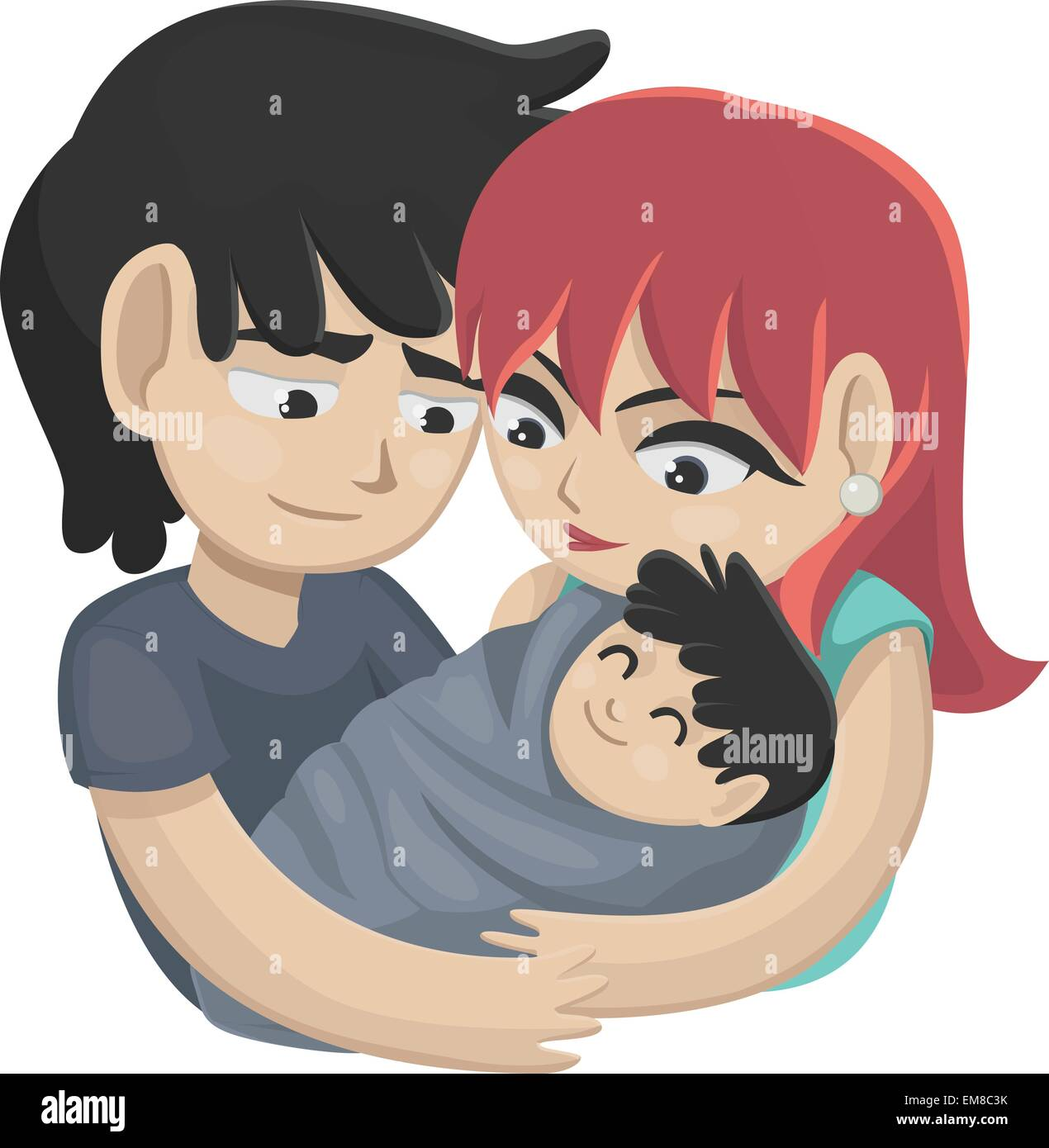 Both Parents Holding Baby Stock Vector Images