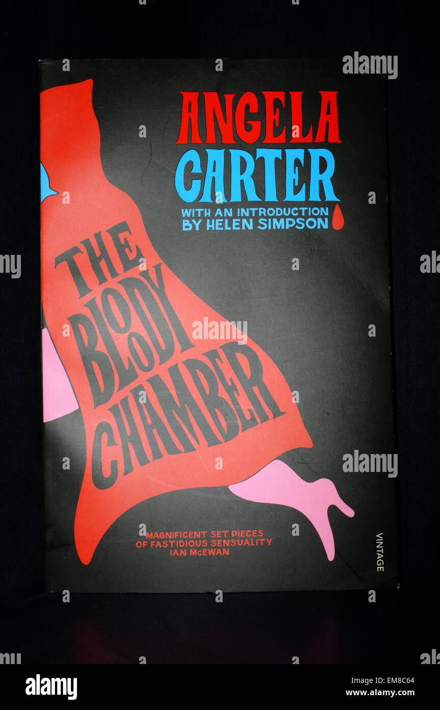 The front cover of The Bloody Chamber by Angela Carter photographed against a black background. - Stock Image
