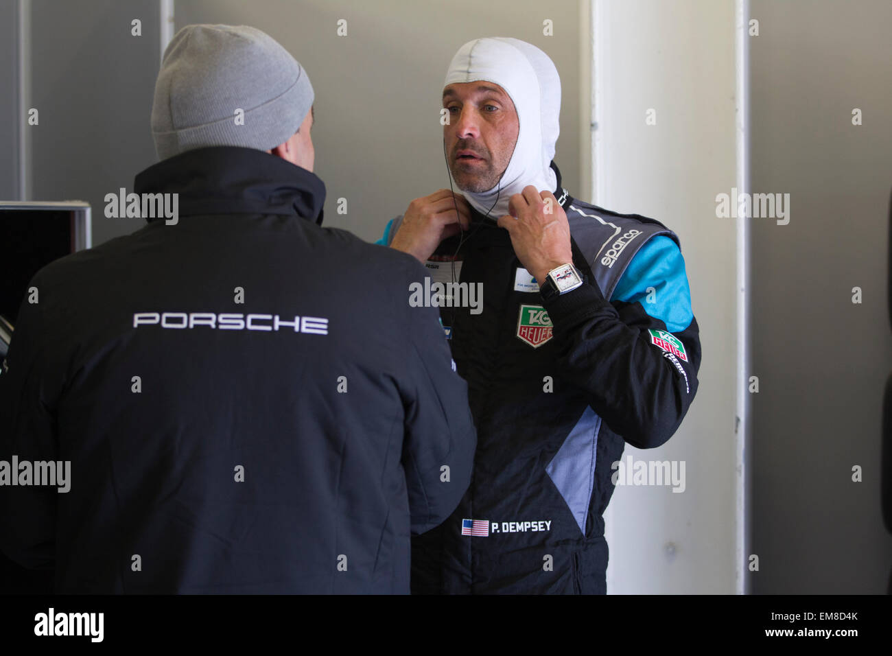 Patrick Dempsey, American actor and amateur racing driver with Porsche World Endurance Championship Team at Silverstone, - Stock Image