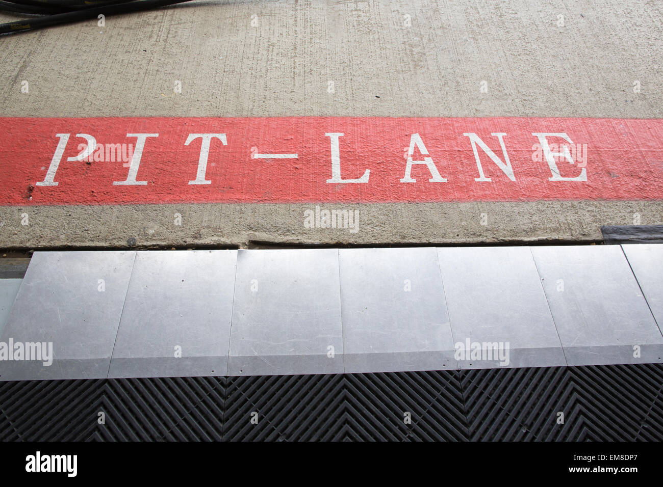 Pit Lane, Silverstone, motor racing circuit, Northamptonshire, England, UK - Stock Image