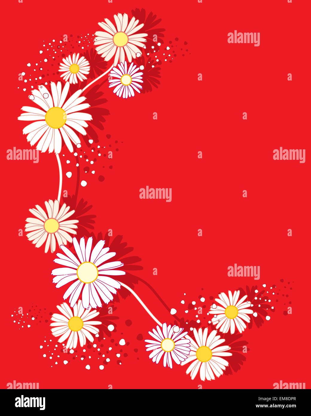 an illustration of a summer daisy flower design on a bright red ...