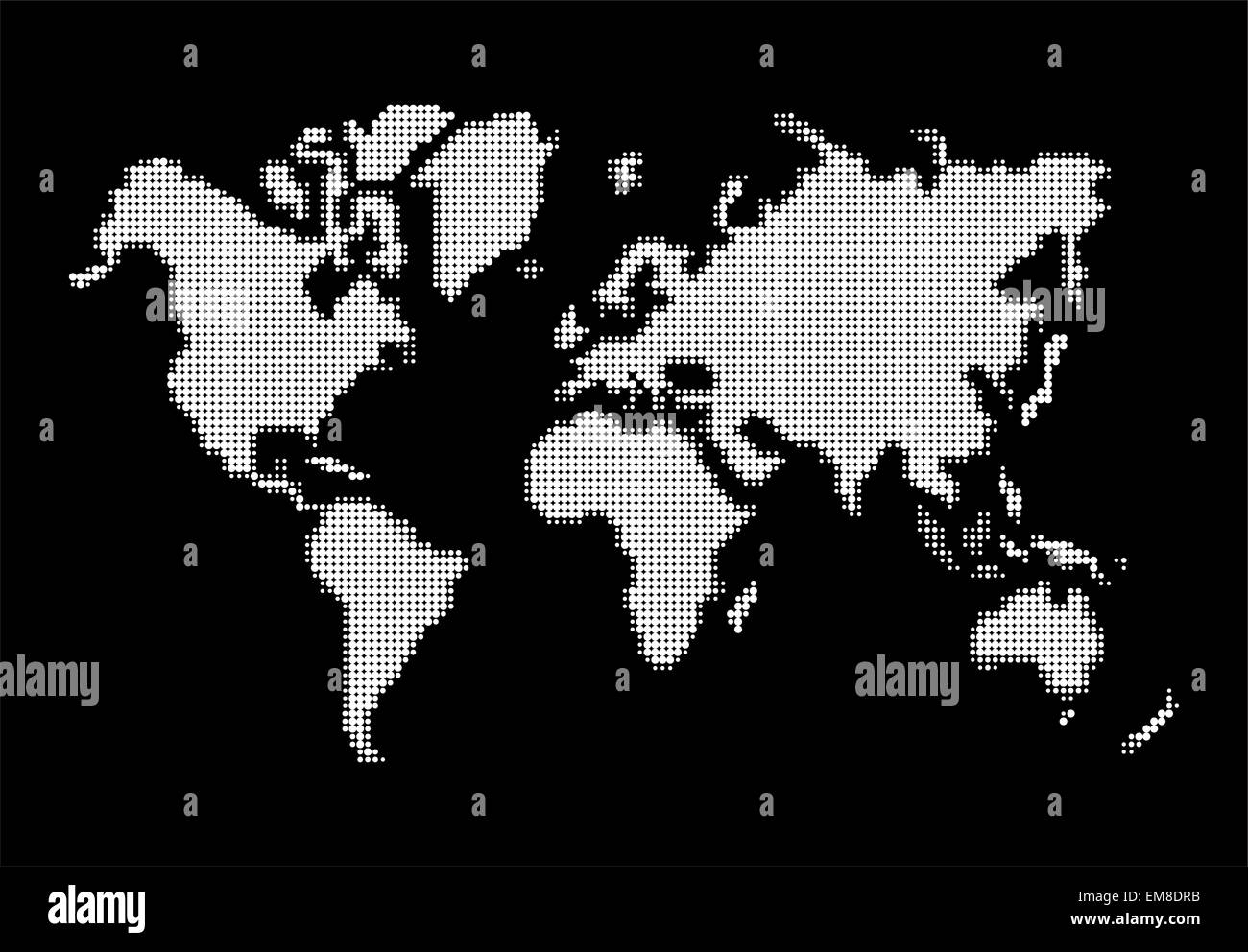 World map, white dots atlas composition EPS10 vector file. - Stock Image