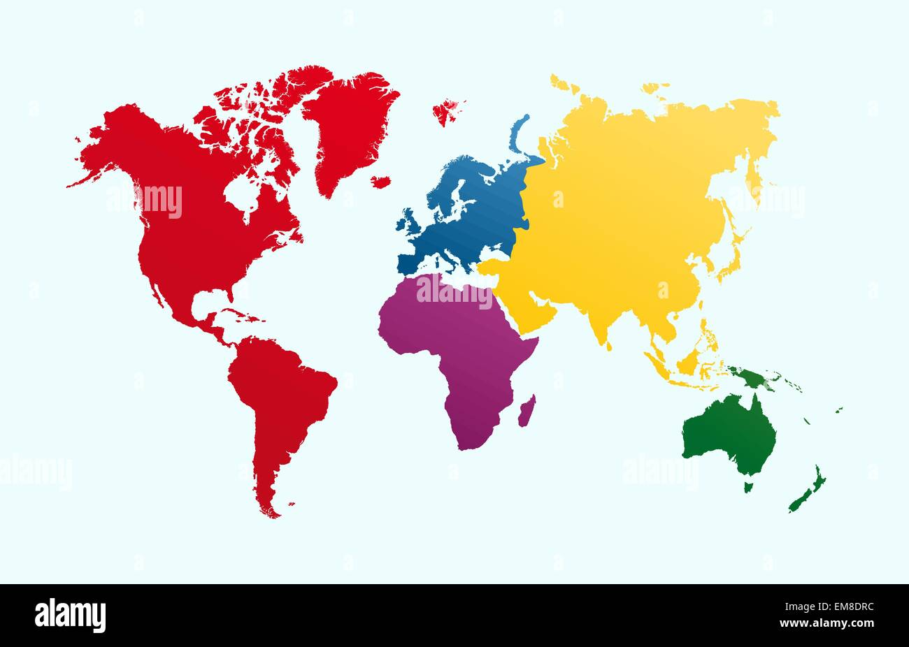 World map, colorful continents atlas EPS10 vector file. - Stock Image
